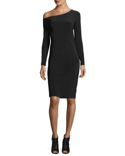 Norma Kamali | Black Long-sleeve Asymmetric-neck Sheath Dress | Lyst