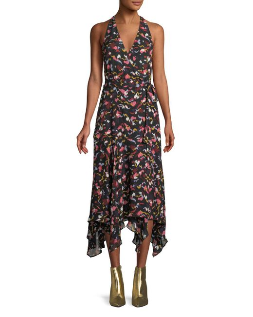 A.L.C. - Black Roslyn Hearts Silk Sleeveless Midi Dress - Lyst
