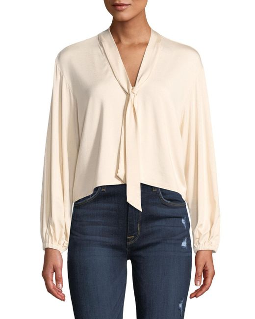 Rachel Pally - Natural Amelie V-neck Sash Tie Long-sleeve Cropped Jersey Top - Lyst