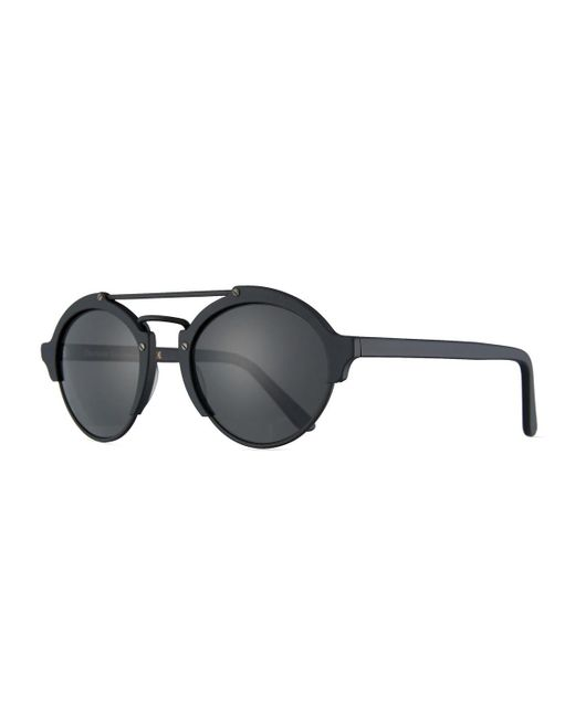 Illesteva - Black Milan Ii Matte Monochromatic Round Sunglasses - Lyst