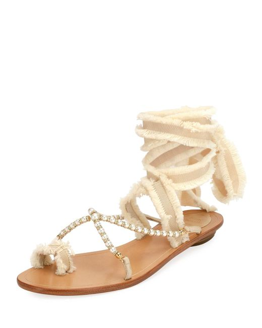 Rene Caovilla - Natural Pearlescent Ribbon Flat Sandals - Lyst