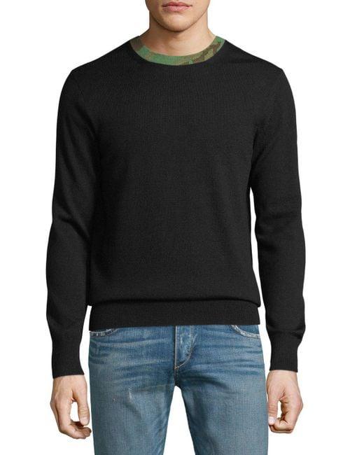 Rag & Bone - Black Men's Camouflage-trim Wool Sweater for Men - Lyst