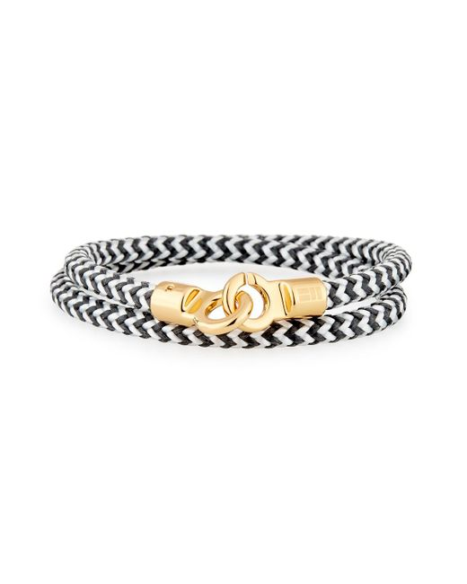 Brace Humanity - Metallic Men's Double Tour Braided Wrap Bracelet Black/white/golden for Men - Lyst