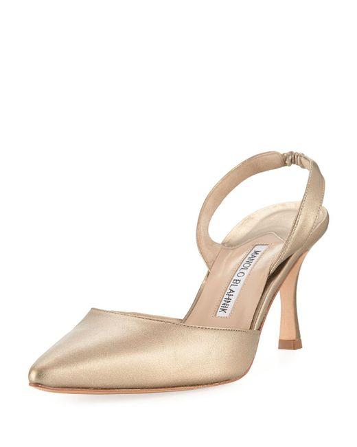 Manolo Blahnik - Multicolor Carolyne Leather Mid-heel Halter Pump - Lyst