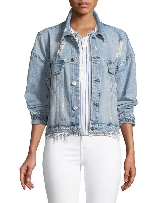 Hudson - Blue Rei Distressed Cropped Denim Jacket - Lyst