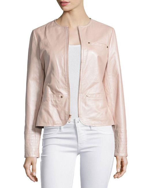 Neiman Marcus | Pink Pearlized Leather Jacket | Lyst