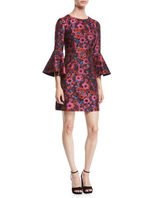 Trina Turk - Red Splendid Floral Print Bell Sleeve Jacquard Sheath Dress - Lyst