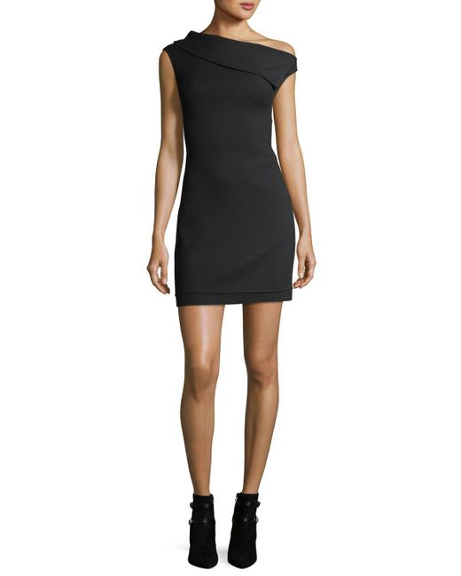 Helmut Lang - Black Asymmetric Sleeveless Crepe Mini Dress - Lyst