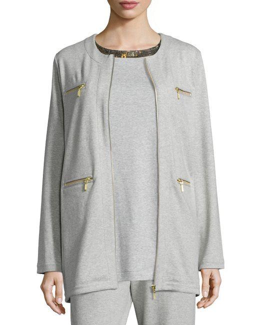 Joan Vass - Gray Four-pocket Cotton Interlock Jacket - Lyst
