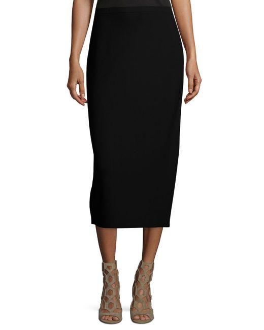 Eileen Fisher - Black Washable Silk/cotton Midi Pencil Skirt - Lyst
