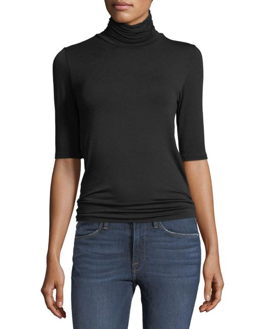 Neiman Marcus - Black Soft Touch Half-sleeve Turtleneck - Lyst