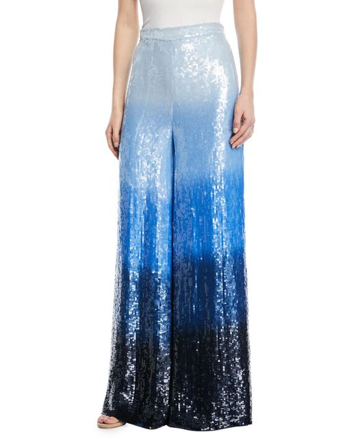 Michael Kors - Blue Dip-dyed Embroidered Sequin Wide-leg Trousers - Lyst
