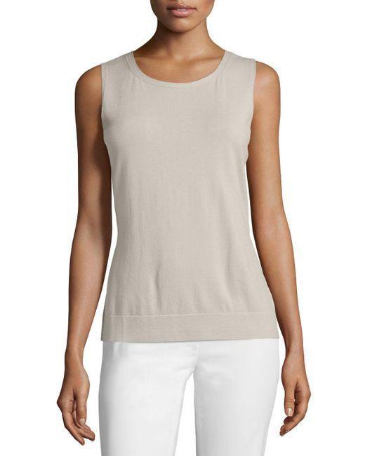 Lafayette 148 New York - Natural Matte Crepe Shell - Lyst