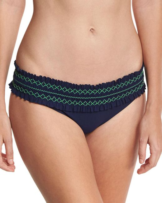Tory Burch - Blue Costa Embroidered Hipster Swim Bikini Bottom - Lyst