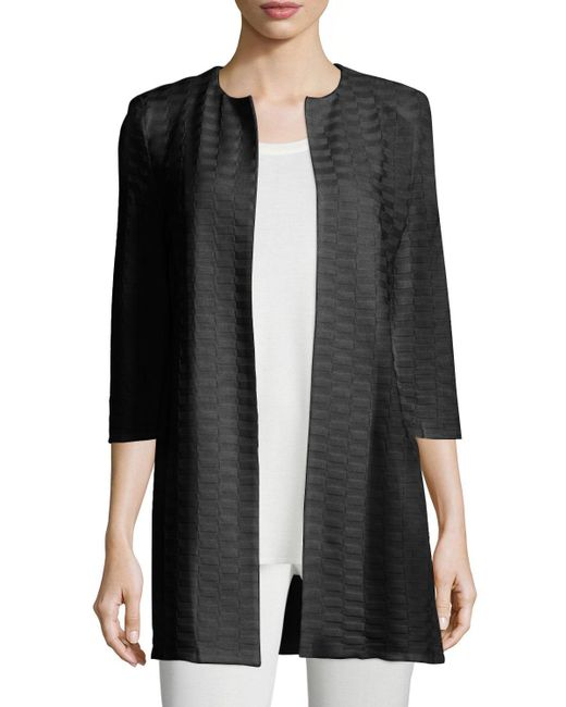 Misook | Black Three-Quarter-Length Crepe Jacket | Lyst