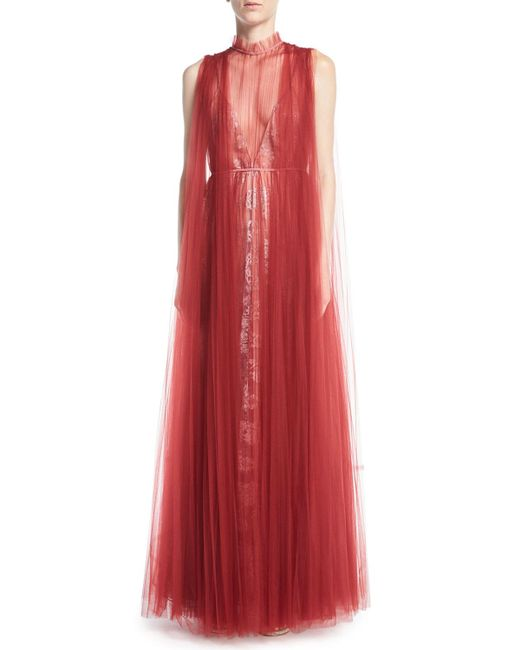 Valentino - Red Floral Lace Gown With Tulle Overlay - Lyst