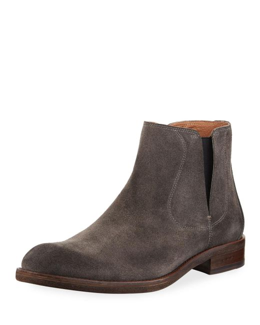 John Varvatos - Gray Waverly Suede Chelsea Boot for Men - Lyst