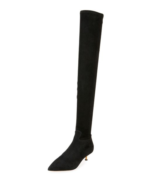 Valentino - Black Over-the-knee Stretch-suede Boot - Lyst