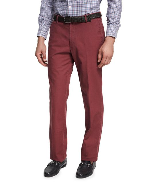 Peter Millar   Red Soft Touch Twill Pants for Men   Lyst