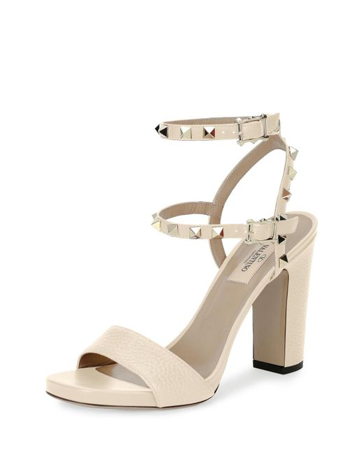 Valentino | Black Rockstud 100mm Chunky-heel Sandal | Lyst