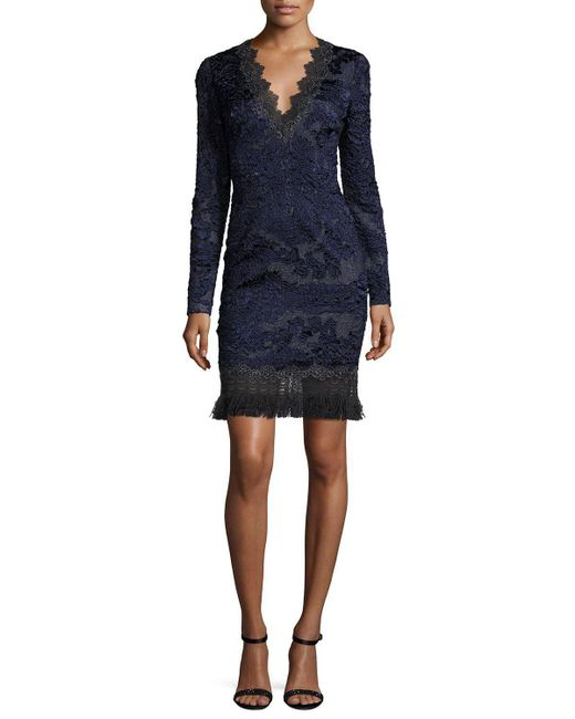 Elie Tahari | Blue Camden Long-sleeve Lace Dress W/ Fringe Hem | Lyst