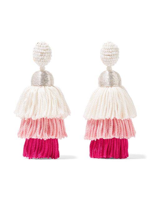 Oscar de la Renta - Pink Tiered Tasseled Beaded Clip Earrings - Lyst