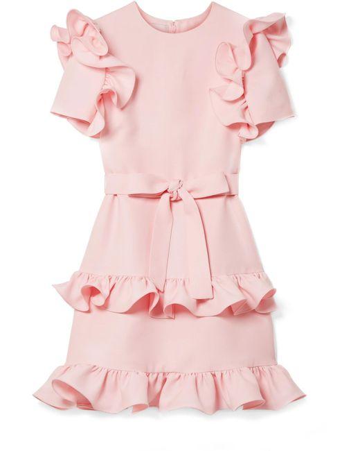 Valentino - Pink Ruffled Wool And Silk-blend Crepe Mini Dress - Lyst