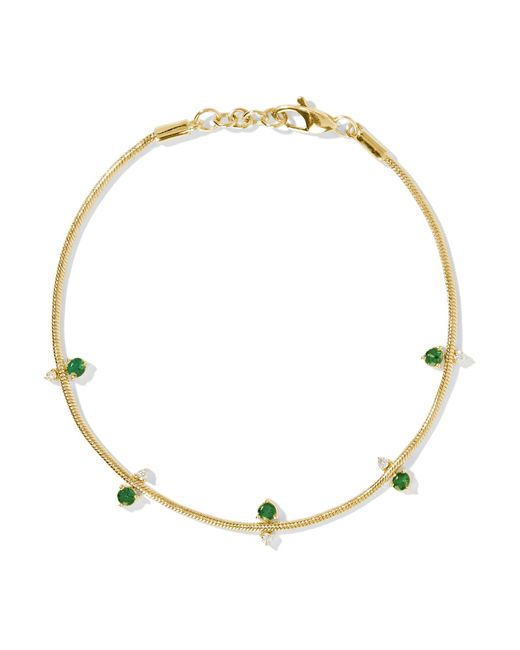 Jemma Wynne   Metallic 18-karat Gold, Emerald And Diamond Bracelet   Lyst