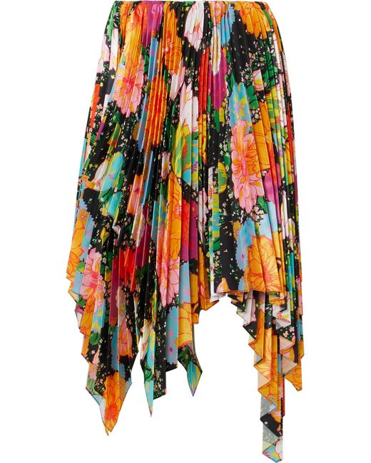 Richard Quinn - Orange Asymmetric Pleated Floral-print Satin Midi Skirt - Lyst