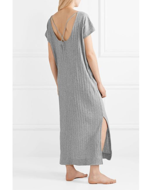 3286e7362d ... Skin - Gray Rowena Ribbed Cotton-jersey Nightdress - Lyst ...