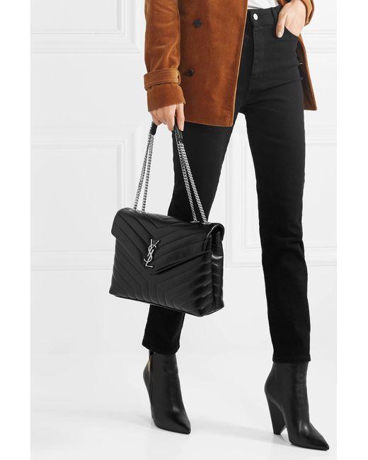 a26b50db33 ... Saint Laurent - Black Loulou Medium Quilted Leather Shoulder Bag - Lyst  ...