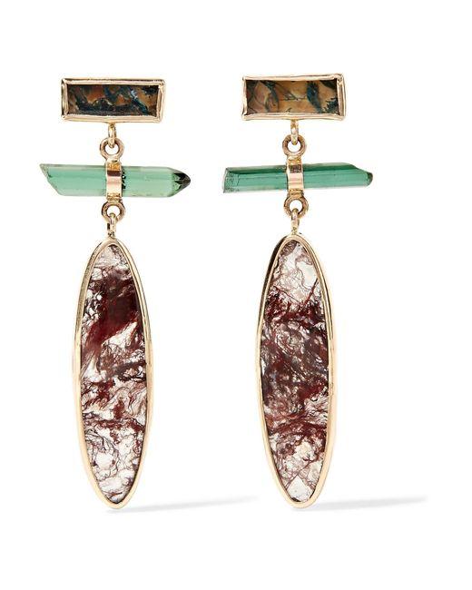 Melissa Joy Manning   Metallic 14-karat Gold, Sterling Silver, Agate And Tourmaline Earrings   Lyst