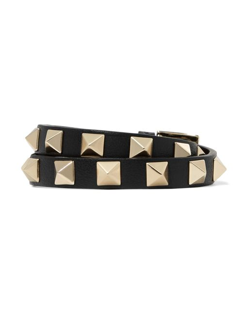 Valentino | Black The Rockstud Leather And Gold-tone Bracelet | Lyst