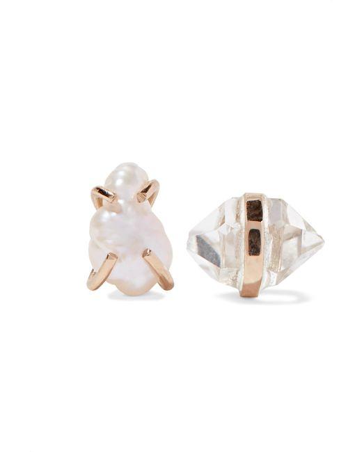 Melissa Joy Manning   Metallic 14-karat Gold, Herkimer Diamond And Pearl Earrings   Lyst