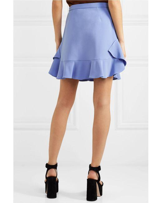 f7aa977ef98e ... Miu Miu - Blue Ruffled Crepe Mini Skirt - Lyst ...
