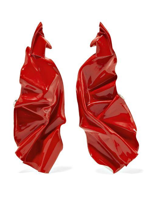 Wwake - Red Closer By Painted Veil Enameled Sterling Silver Earrings - Lyst