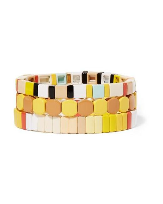 Roxanne Assoulin Yellow Butter Up Set Of Three Enamel And Gold-tone Bracelets