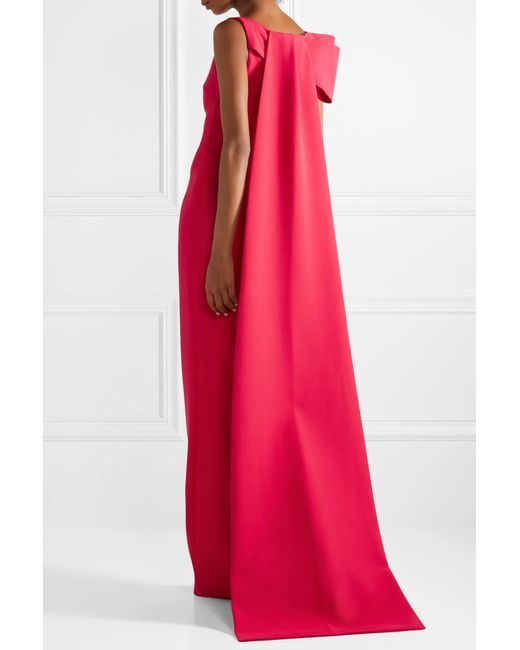 ... Safiyaa - Red Celestia Draped Stretch-crepe Gown - Lyst ...