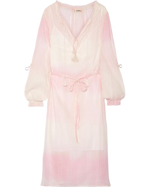 Lemlem | Pink Berhan Embroidered Dégradé Cotton-gauze Dress | Lyst