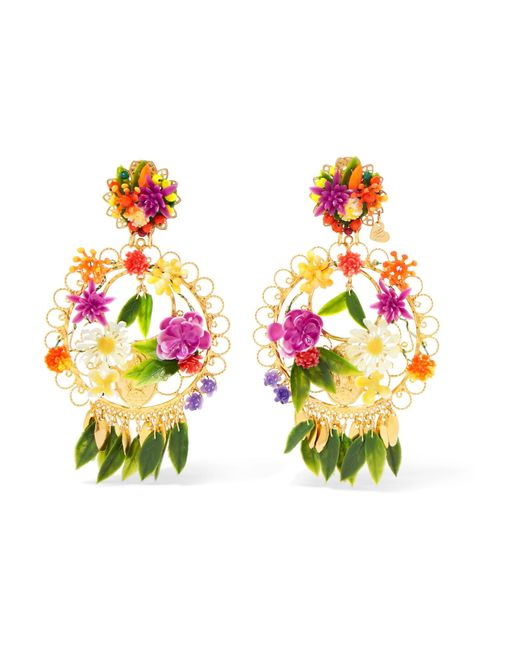 Mercedes Salazar | Pink Fiesta Gold-plated Resin Clip Earrings | Lyst