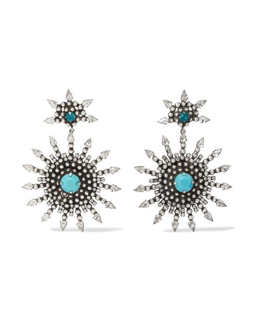 DANNIJO | Metallic Delano Oxidized Silver-plated, Swarovski Crystal And Turquoise Earrings | Lyst