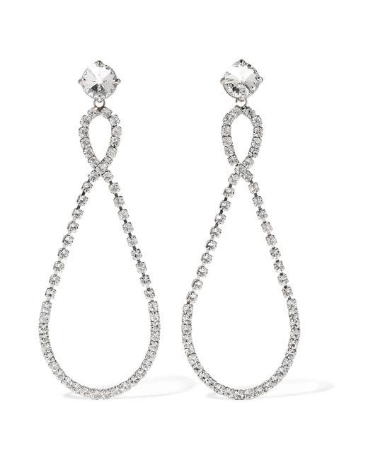 Miu Miu | Metallic Silver-tone Crystal Clip Earrings | Lyst