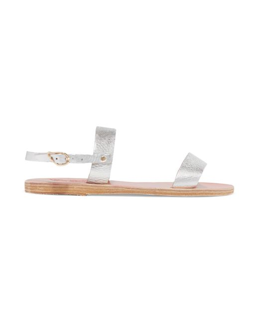 Ancient Greek Sandals - Clio Metallic Textured-leather Sandals - Lyst