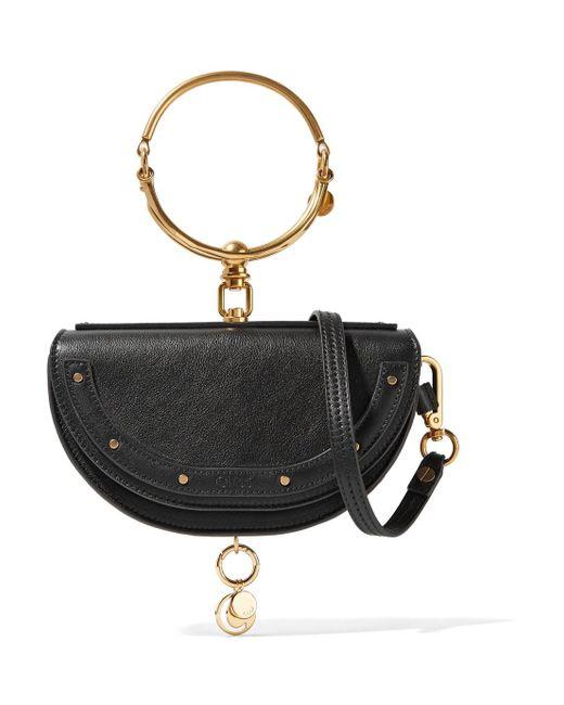 Chloé - Black Nile Bracelet Small Textured-leather Shoulder Bag - Lyst