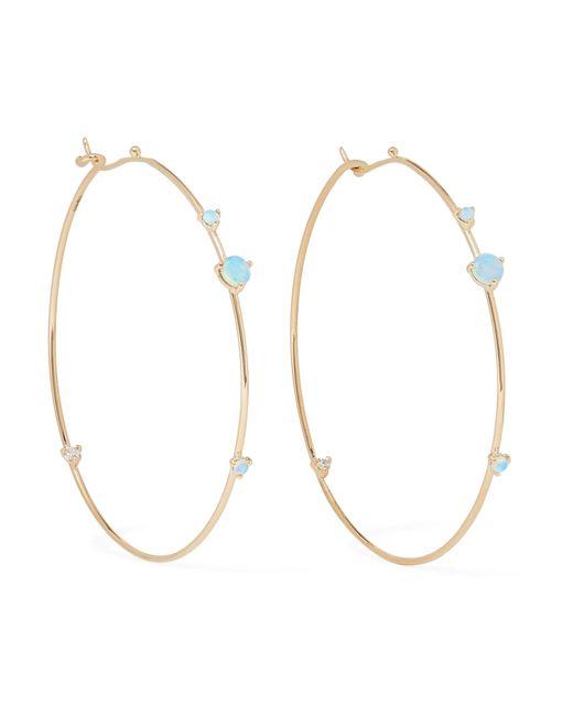Wwake - Metallic 14-karat Gold, Opal And Diamond Hoop Earrings - Lyst