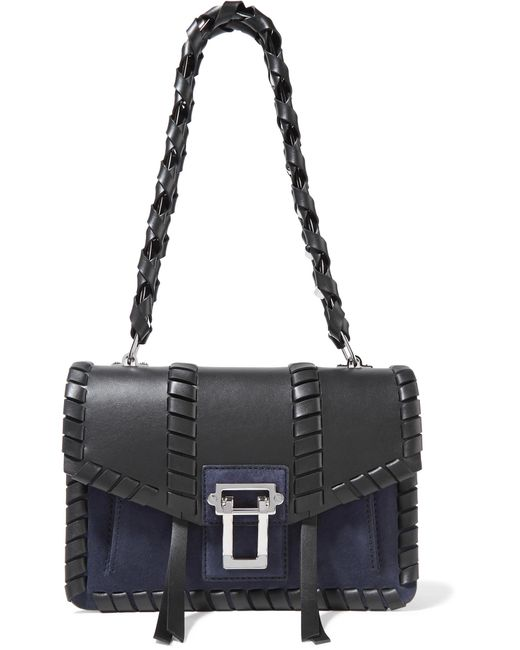 Proenza Schouler - Black Hava Whipstitched Leather And Suede Shoulder Bag - Lyst