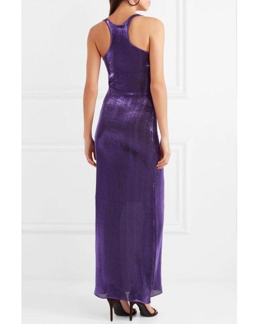 Hercules Metallic Stretch Silk-blend Maxi Dress - Purple Juan Carlos Obando 5g4uU