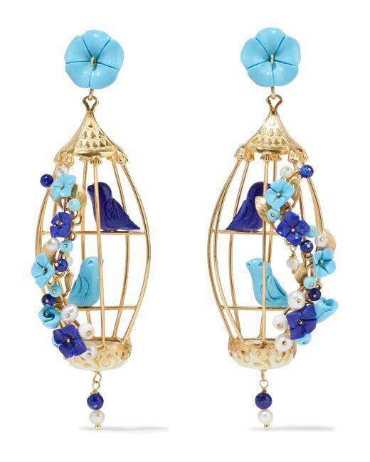 Of Rare Origin - Blue Lovebirds Gold Vermeil Multi-stone Earrings - Lyst