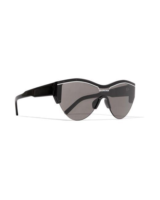 73a10708b93 ... Balenciaga - Black Ski Cat-eye Acetate Sunglasses - Lyst ...