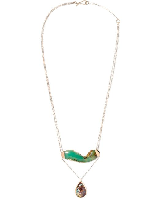 Melissa Joy Manning | Metallic 14-karat Gold, Sterling Silver, Chrysocolla And Opal Necklace | Lyst
